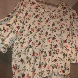 Bell Sleeved, cropped, floral Top. Tie front